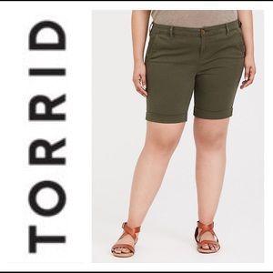 Torrid Green Cuffed Bermuda Shorts